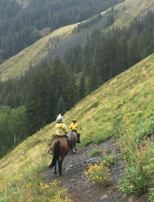 The descent from Navajo Lake is extremely steep - Riding Horses in the Mountains
