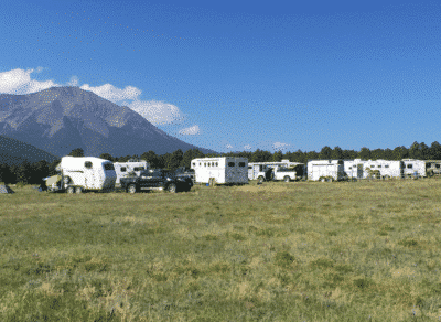 Endurance riding camp filled with trailers